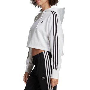 adidas Tops - Adidas Women's Cropped Logo Hoodie in White,Black